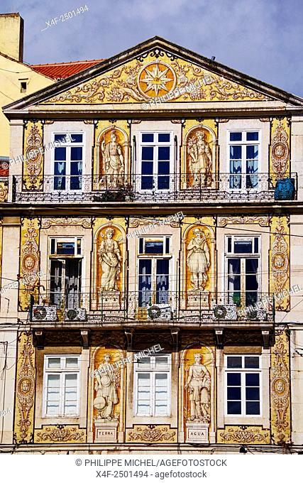 Portugal, Lisbon, front building in Trindade street in Bairro Alto