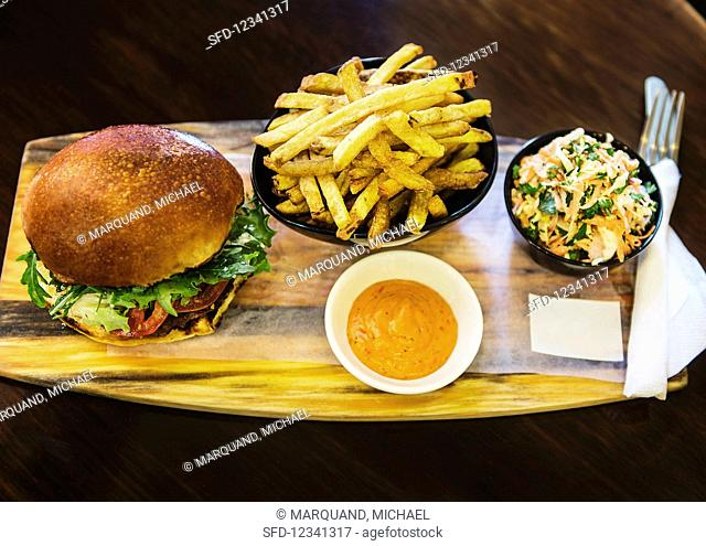 A burger with fries, salad and a dressing