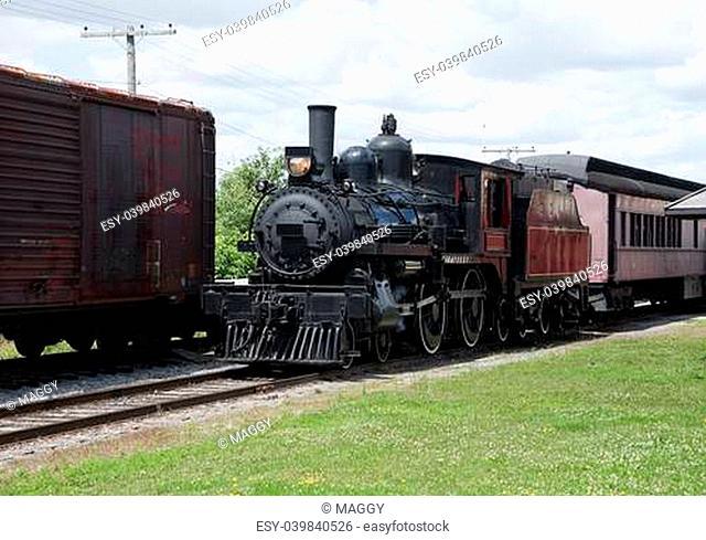 old steam locomotive in rural ontario
