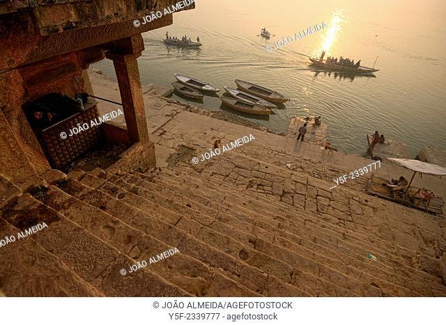 Man still sleeping at sunrise at Varanasi