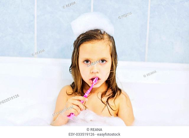 Little Girl Bath Game Stock Photos And Images Age Fotostock