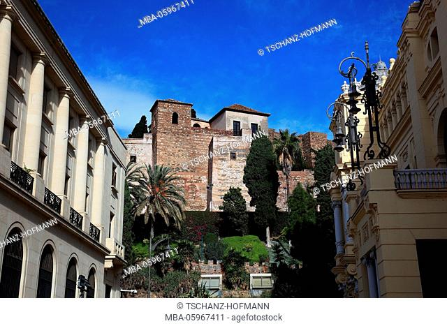 Spain, Andalusia, Malaga, view from of the old town to a part of the Alcazaba
