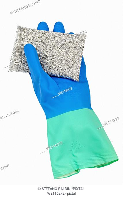 Rubber glove and scouring pad on a white background