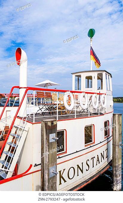 "motorship """"konstanz"""", harbour, lake constance,"