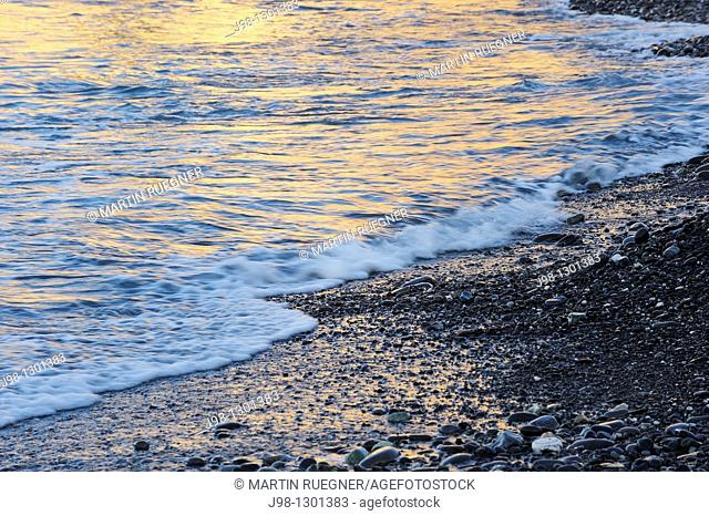 Beach with pepples and golden light reflected on water  Italian Riviera, Liguria, Italy, Europe