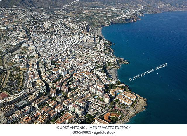 Aerial view of Nerja. Costa del Sol, Málaga province. Andalusia, Spain