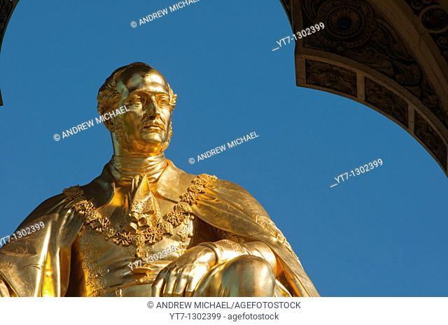 Golden statue of Prince Albert at the Albert Memorial, Hyde Park, Kensington, London, England, United Kingdom