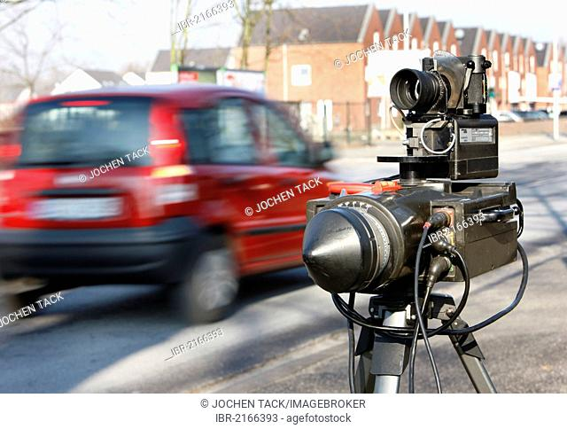 Radar speed equipment being used by the police, photocall, speed check marathon of the police in North Rhine-Westphalia on 10 February 2012