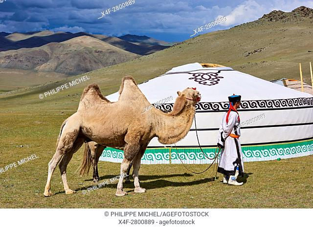Mongolia, Uvs province, western Mongolia, nomad camp in the steppe