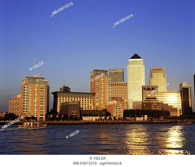 Great Britain, England, London,  Dock country, Canary Wharf, skyline,  Thames, trip boat, sunset,  Series, capital, ehem