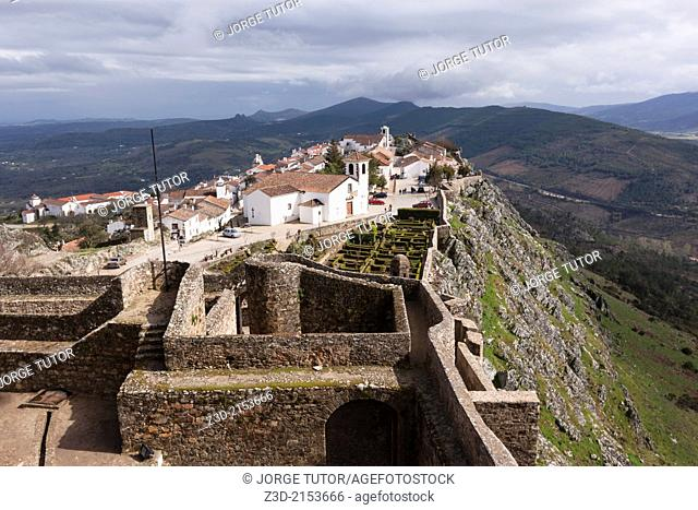 View of Portuguese village of Marvão from castle, Alentejo Region, Portugal