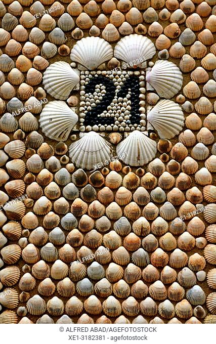 number and facade made of shells, Sant Cugat del Valles, Catalonia, Spain