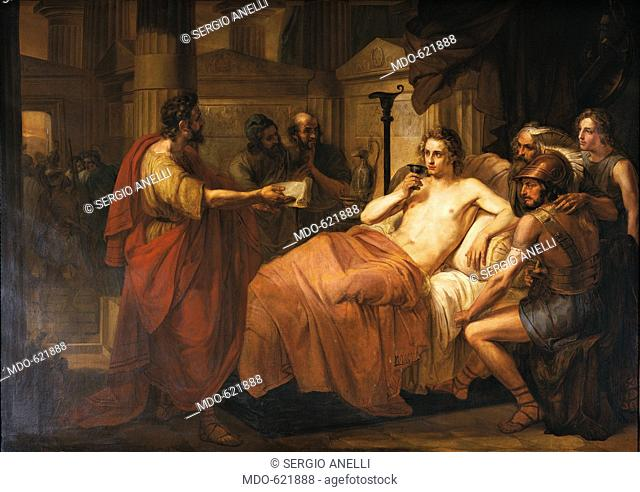 The sick Alexander (Alessandro infermo), by Domenico Induno, 19th Century, oil on canvas, 161 x 228 cm. Accademia Collections. Whole artwork view