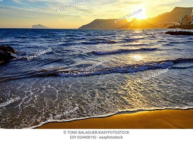 Calpe sunset in Mediterranean in cantal roig beach of spain