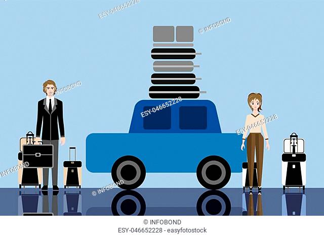 Young travelers couple with suitcases. Car and luggage on the roof. Travelers ready for road trip and a long vacation. Vector flat illustration