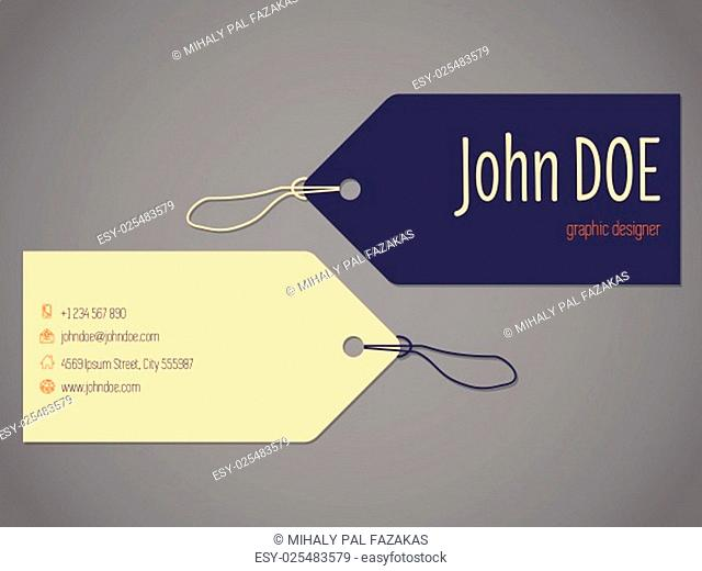 Shopping label business card design with rope