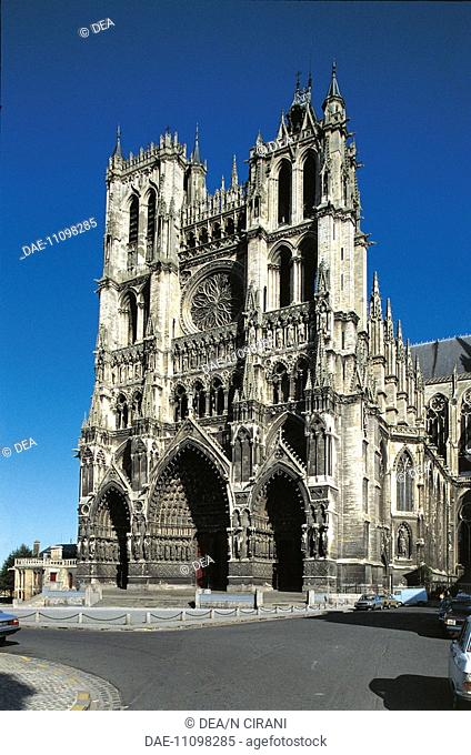 Facade of a cathedral (1220), Amiens, France