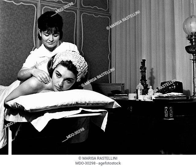 Sylva Koscina having a massage. Yugoslavian-born Italian actress Sylva Koscina having a massage. Rome, 1964