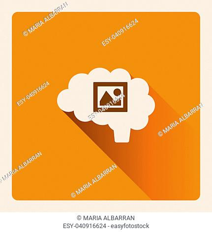 Brain thinking in art illustration on yellow square background with shade