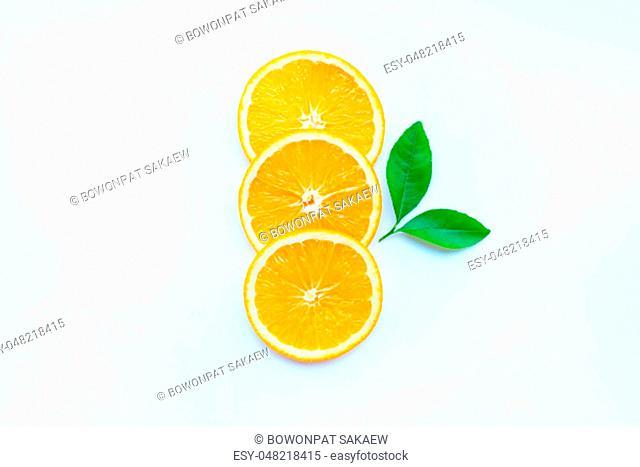 Orange fruit slices on white background