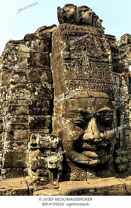 Face of Bodhisattva Lokeshvara, Bayon Temple, Angkor Thom, Siem Reap, Cambodia