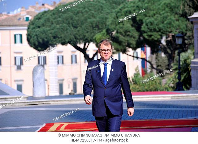 Prime Minister of the Republic of Finland Juha Sipila . Celebrations of the 60th anniversary of the Treaties of Rome. Arrivals to the Capitol. Rome