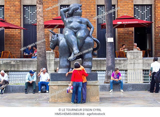 Colombia, Antioquia Department, Medellin, recently created in front of the Botero Museum, the Plaza Botero has 20 monumental bronzes