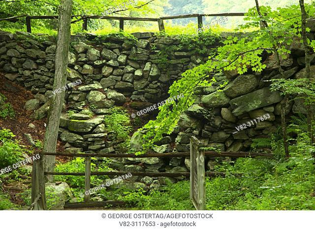 Historic dam and mill site along Laurel Trail, Devils Den Preserve, Connecticut