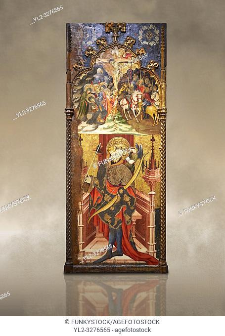Gothic altarpiece depicting top, Calvary, bottom, St Sebastia (Sebastian) , by Joan Mates of Villafranca de Penedes, circa 1417-1425