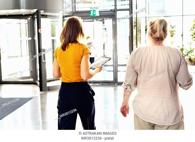 Two colleagues walking in office building lobby