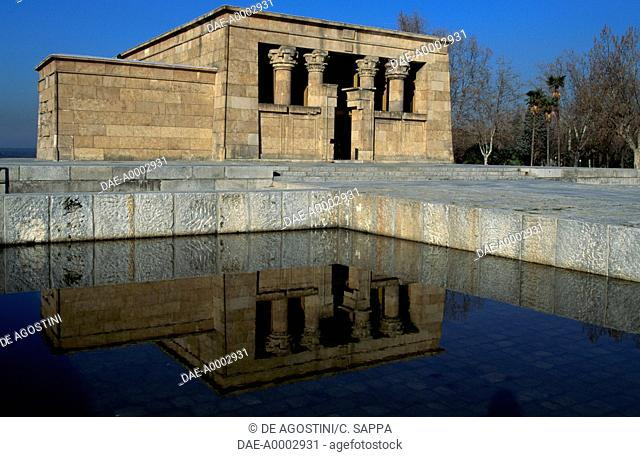 The Temple of Debod, an ancient Egyptian temple from Assuan which was dismantled and rebuilt in Madrid in 1972, Parque de la Montana, Madrid, Spain