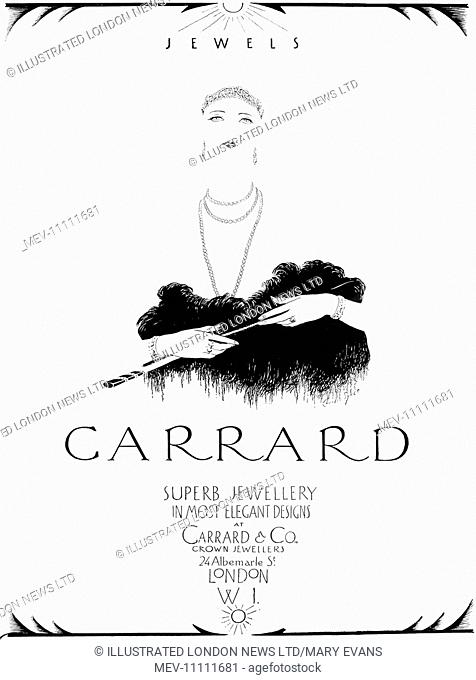 Advertisement for Garrard & Co, crown jewellers featuring a minimalistic illustration of an elegant woman defined by her jewellery