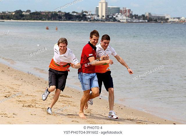 Nico Hulkenberg GER, Sahara Force India Formula One Team, Jack Trengove AUS, Australian football player and Paul di Resta GBR