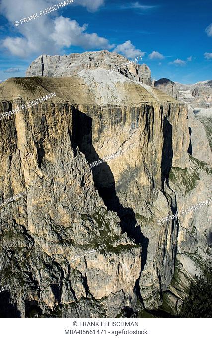 Sella group, wall bars, Sas de Salei, Piz Selva, dolomites, aerial picture, high mountains, Trentino, Italy