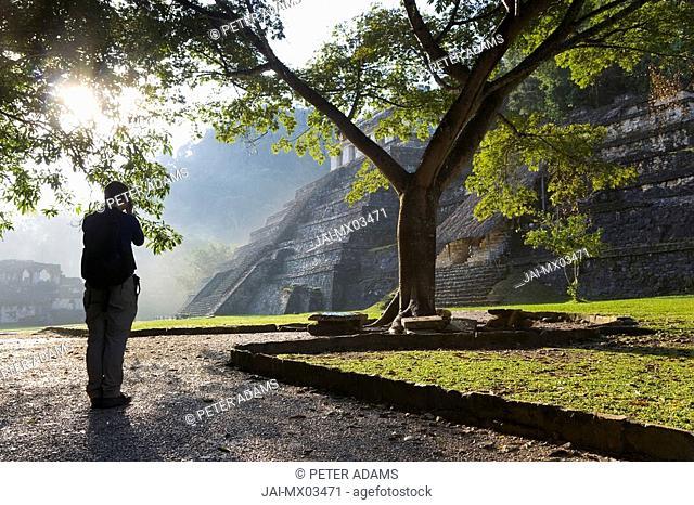 Photographer & Templo las Inscripciones, Palenque, Chiapas Province, Mexico