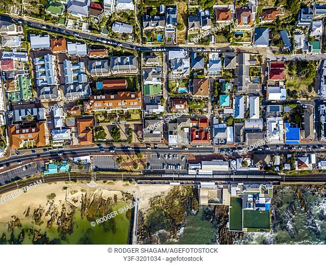 Aerial view of the seaside suburb and fishing village of Kalk Bay in Cape Town, South Africa