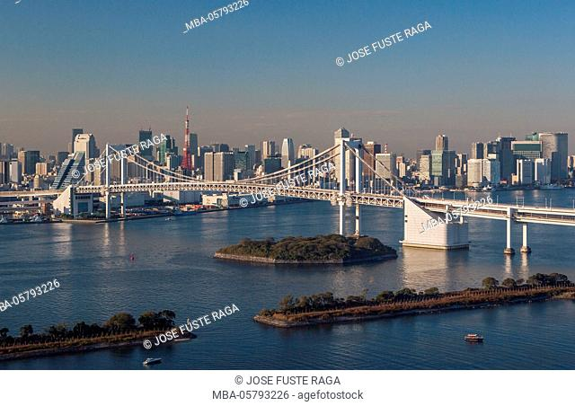 Japan, Tokyo City, Tokyo Bay, Skyline, Rainbow Bridge