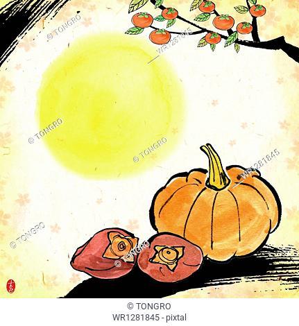 illustration memo template of Chuseok featuring moon