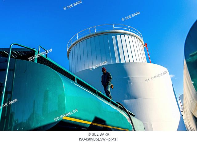 Low angle view of worker on top of biofuel oil tanker at biofuel plant