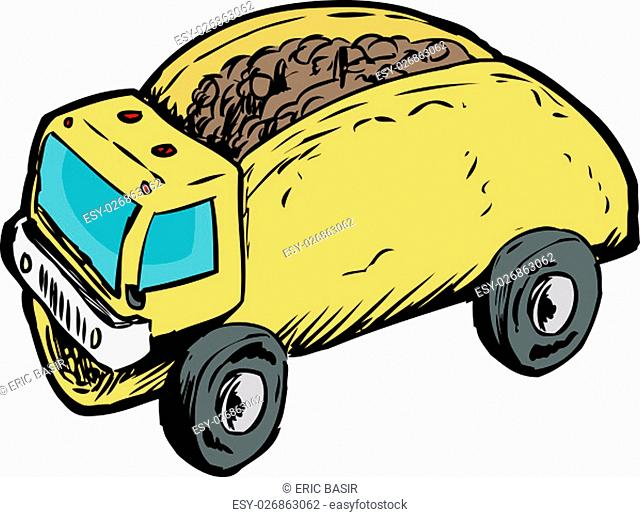 Funny play on words of beef corn taco as dump truck over white background