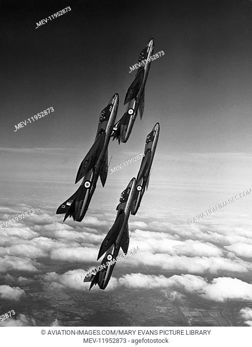 Four RAF Hawker Hunters of the 54 Squadron Aerobatic Team Climbing in Formation During a Rehersal for the 1955 Farnborough Airshow