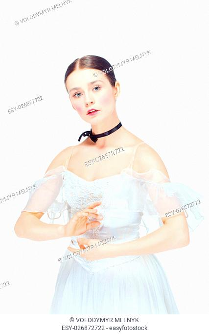 Romantic Beauty. The portrait of a woman as ballerina in retro style on white background