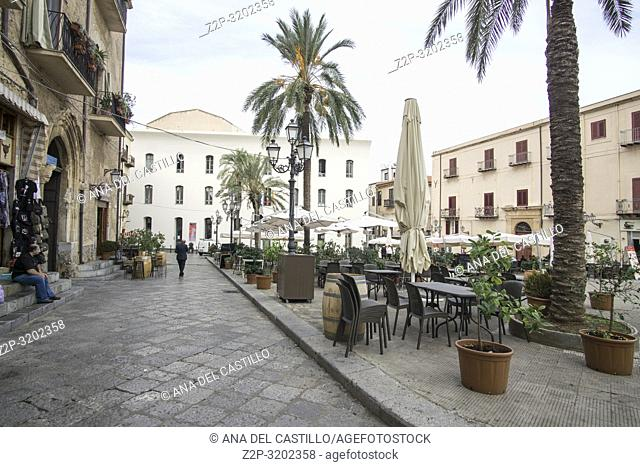Cefalu townscape Sicily village on the sea Italy