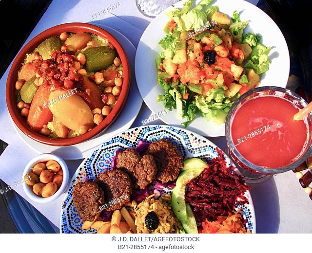 "Morocco, Food, Couscous,olives, """"Kefta"""" meat, moroccan salad, and grenade fruit juice"