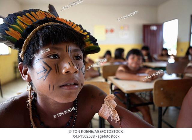 school for the Xingu indians in the Amazone, Brazil