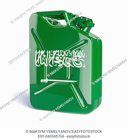 Oil of Saudi Arabia. Saudi arabian flag painted on gas can. 3d illustration
