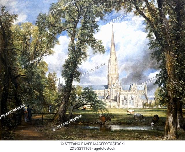 Salisbury Cathedral from the Bishop's Ground (1823) by John Constable (1776 - 1837). oil on canvas. Victoria and Albert museum - London, England