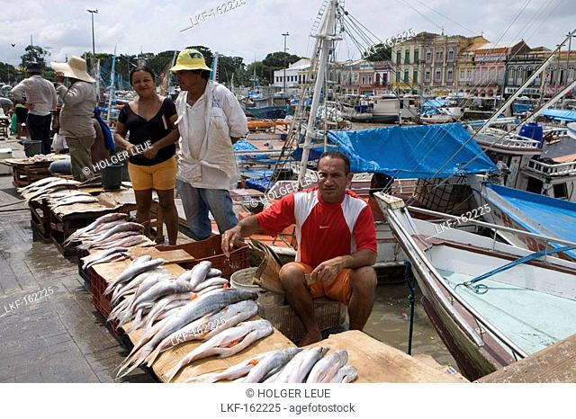 Fisherman selling fish at the harbour and fishing boats outside Mercado Ver O Peso Market, Belem, Para, Brazil, South America