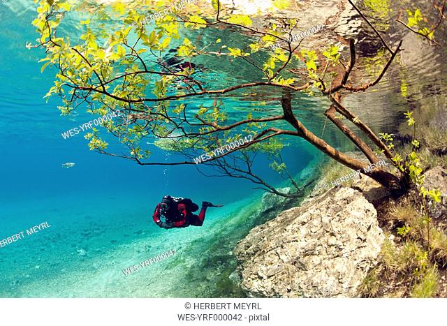 Austria, Styra, Tragoess, Green Lake, Diver