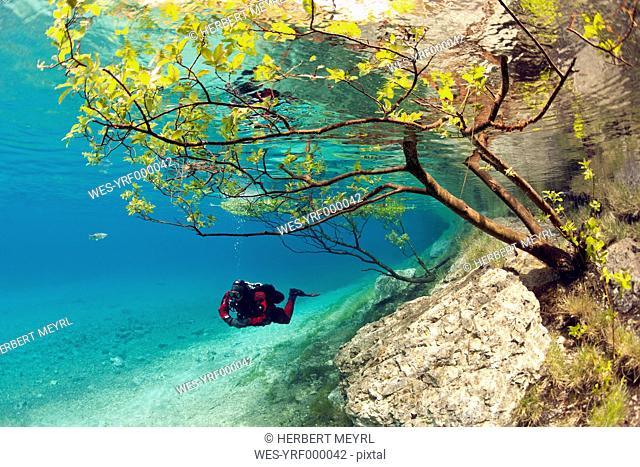 Austria, Styra, Tragoess, Green Lake, Diver